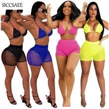 купить Sequins Beaded Mesh Two Piece Set Backless Crop Top And Shorts Sets See Through Halter Bodycon Bodysuit Sexy Playsuits Club Wear по цене 1484.99 рублей