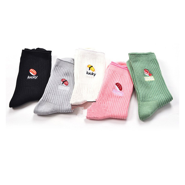 Korean Harajuku Female Sushi Food Long Sock Women Japanese Cute Lucky Embroidery Pattern Art Cotton Socks Pink Black White Sox