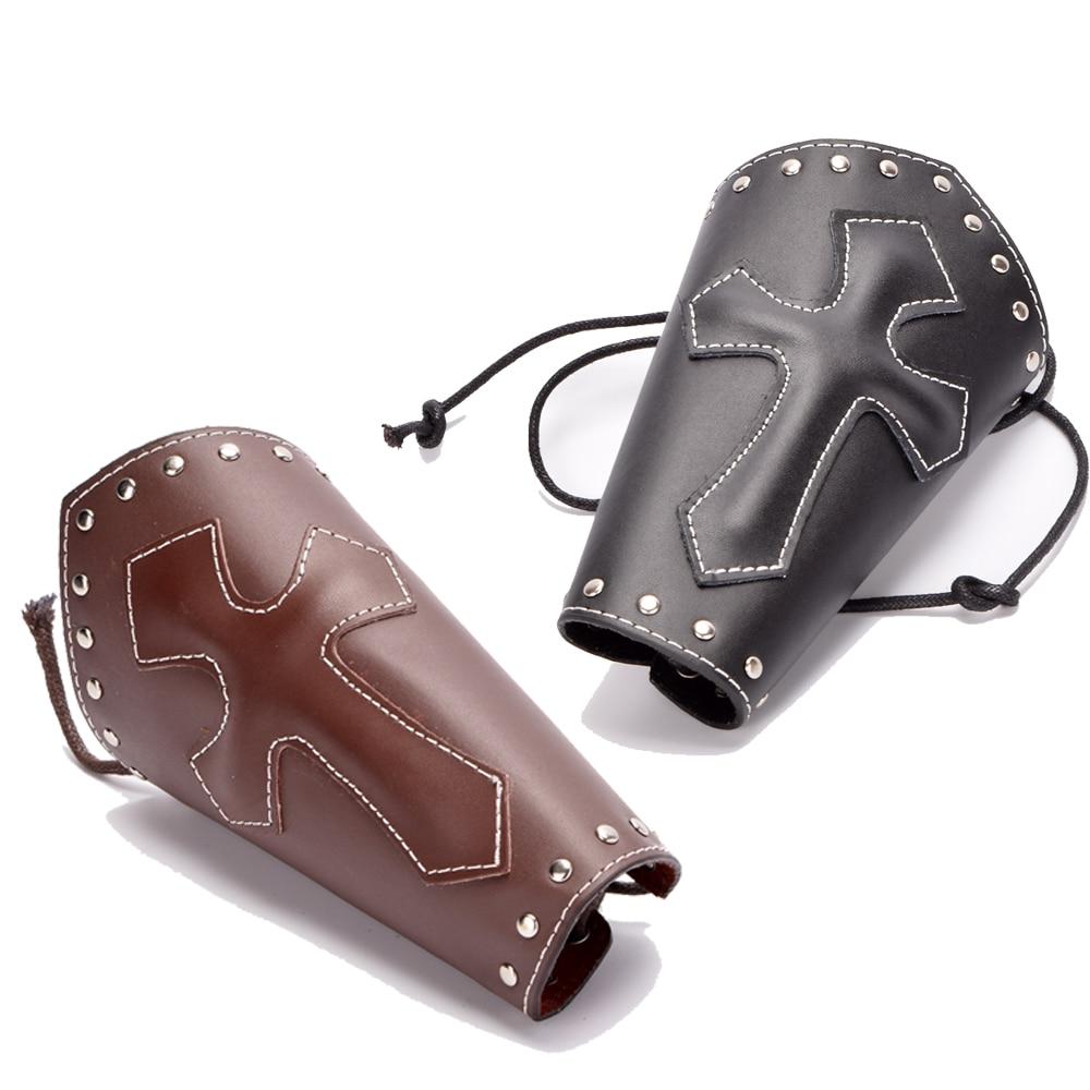 Medieval Gauntlet Men Vintage Wristband Bracer Punk Cross Bandage Bracelet Armband Cosplay Props Leather Bracer