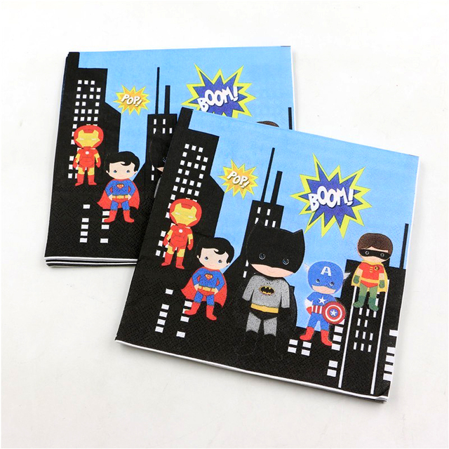 Kids Favors Towels Superman Paper Napkins Superhero Baby Shower Decoration  Batman Theme Birthday Party Tissues Supplies