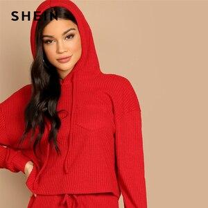 Image 5 - שיין אדום כיס שתוקנה מוצק הסווטשרט ומותני שרוך מכנסיים רגיל סט נשים שתי חתיכות סטי 2019 סתיו רגיל Twopiece