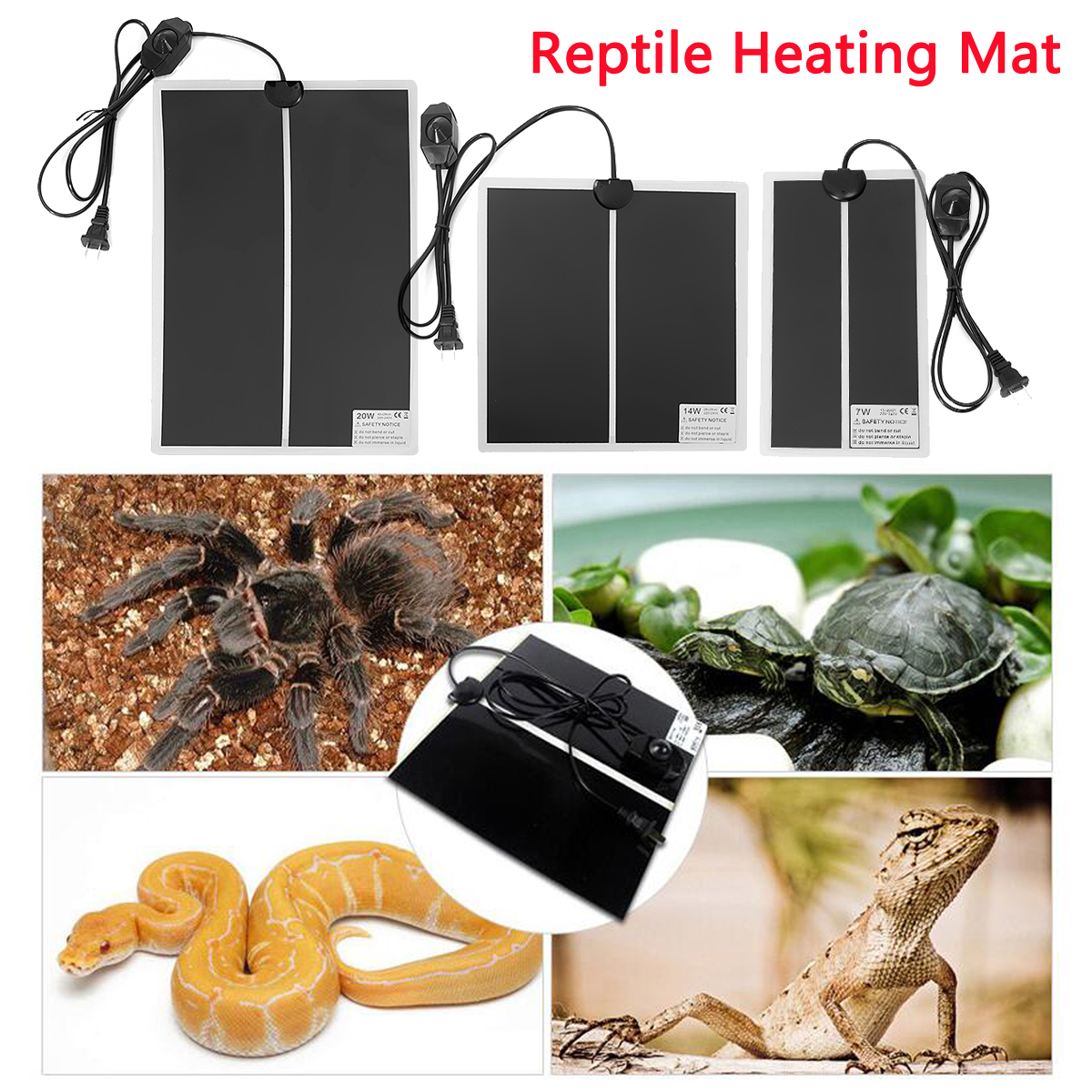Angemessen 220 V Reptil Grübler Inkubator Haustier Heizkissen Wärme Matte Schlange Eidechse Tragbare Elektronische Heizung Matten 7 Watt/14 Watt/20 Watt Attraktive Mode