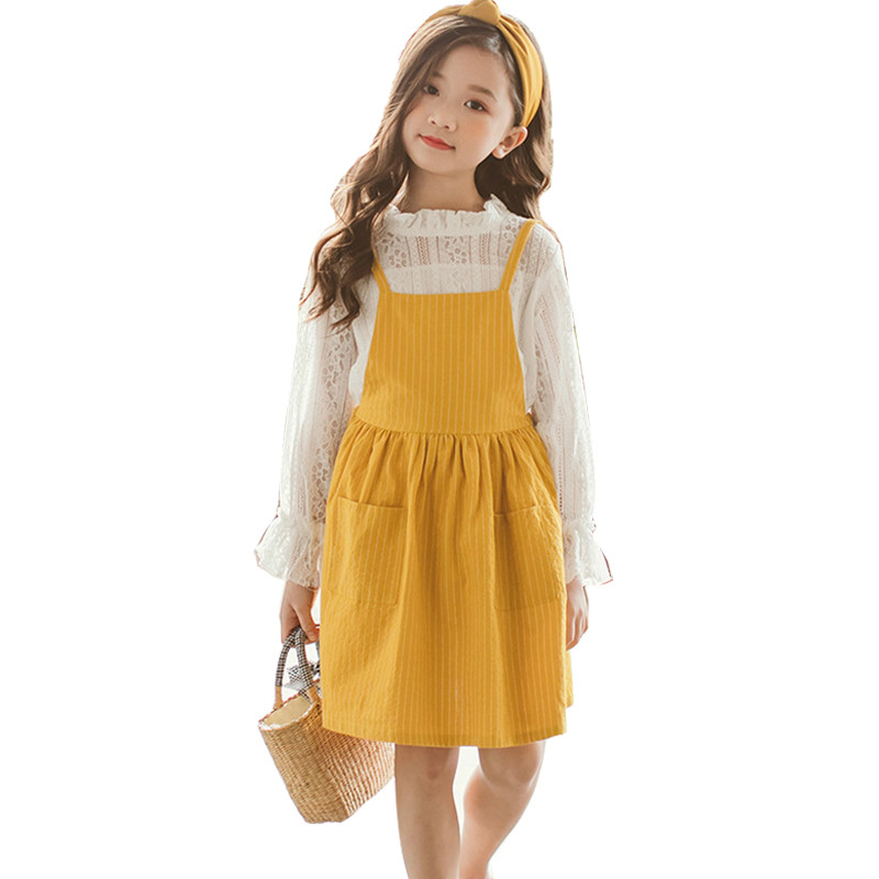 Children Girl Clothing Suit spring Two Piece Set Top & Sling Dress Long Sleeve Striped Kids Clothes 4 5 6 7 8 9 10 11 12 Years