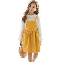 Children Girl Clothing Suit spring Two Piece Set Top & Sling Dress Long Sleeve Striped Kids Clothes 4 5 6 7 8 9 10 11 12 Years цены