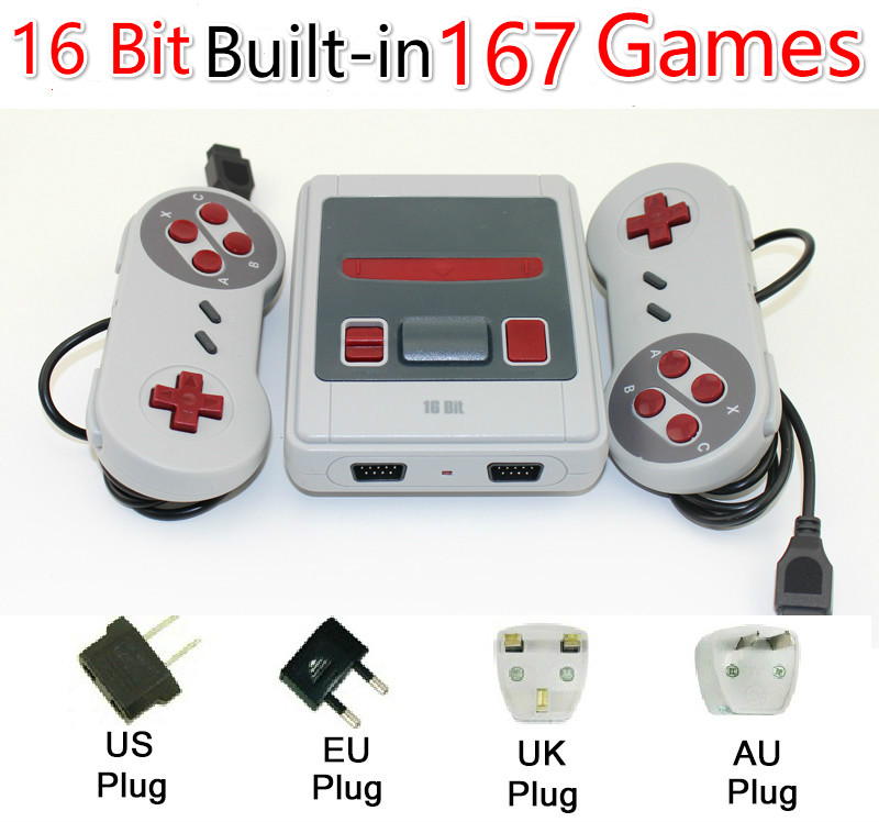 Built-In 167 Classic Game for 16b games Dual gamepad Mini TV Video Game Console 16 Bit Retro Handheld Family Video Game Player цена