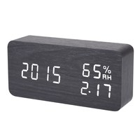 Black Digital LED Alarm Clock Sound Voice Control Electronic Desktop Clock USB Powered Temperature Humidity Display