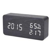 블랙 디지털 LED 알람 시계 사운드 음성 제어 전자 데스크톱 시계 USB 전원 온도 습도 표시 알람 시계