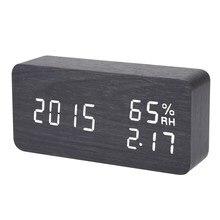 Черный цифровой светодиодный Будильник Звук голосового Управление электронные настольные часы USB Powered Температура влажность Дисплей Будильники