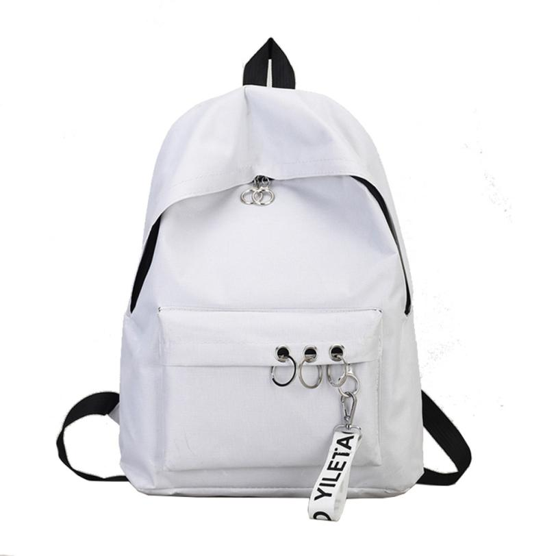 Canvas Backpack Schoolbag Girl Teens School Bag Female Solid Womens Backpack College Simple  Students Mochila Escolar #442