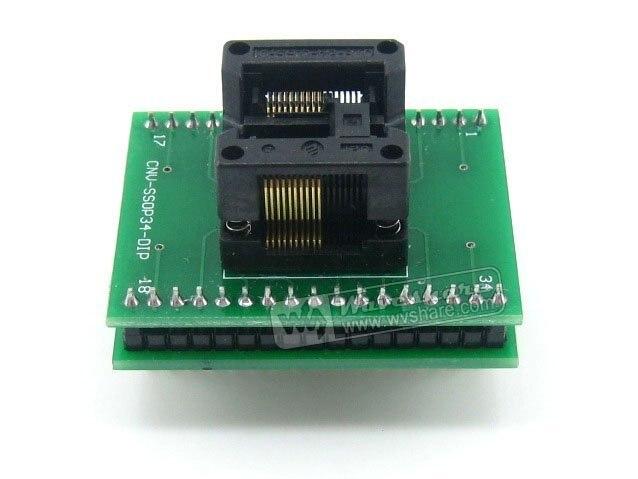 Waveshare SSOP20 TO DIP20 (B) SSOP20 Enplas IC Test Socket Programming Adapter 0.65mm Pitch + Free Shipping