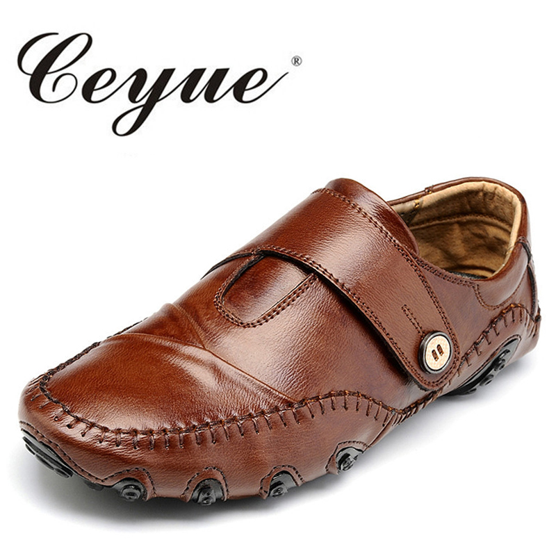 Ceyue New Handmade Quality Leather Moccasins Men Casual Shoes Luxury Brand Men Loafers Hook&Loop Breathable Driving Shoes Flats new style comfortable casual shoes men genuine leather shoes non slip flats handmade oxfords soft loafers luxury brand moccasins