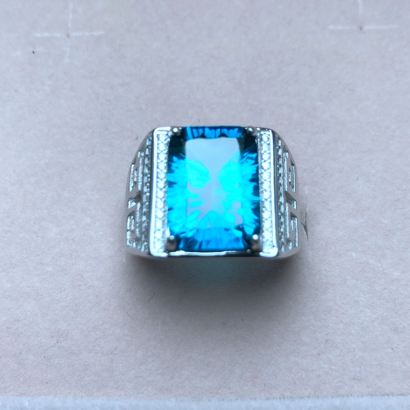 Atmospheric men s ring 925 silver a variety of topaz photo taken Manufacturing new process