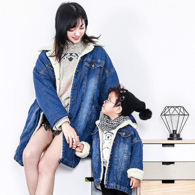 Mommy And Me Winter Warm Thicken Add Fur Jacket Family Matching Outfits Mother Girls Boys Long Denim Coat Family Look Clothing