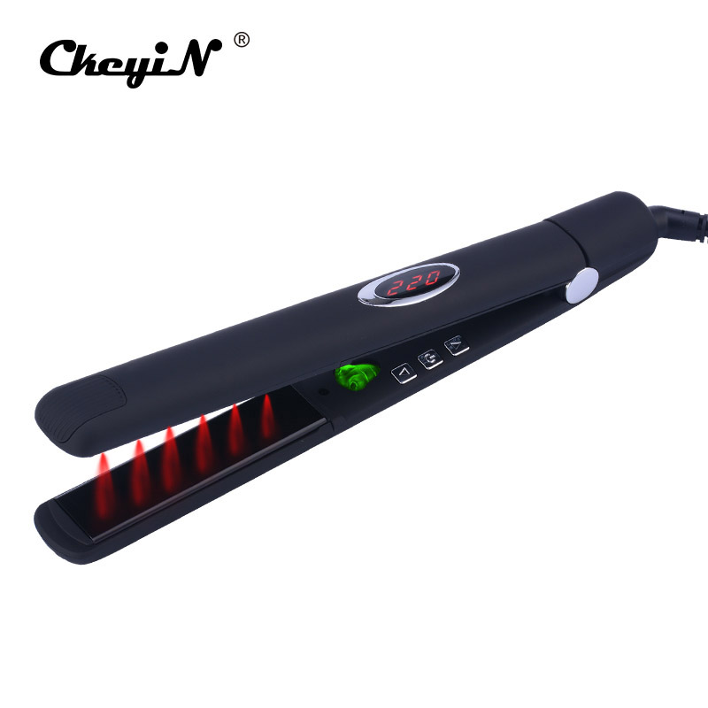 CkeyiN LED Digital Infrared Hair Care Iron Fast Straight Hair Ceramic Infrared Straightener Lock Moisture &Oil Hair Styling Tool