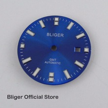 BLIGER 31,5 мм синий циферблат белый знаки окошко даты часы циферблат подходит для GMT автоматический Move для мужчин t мужские часы циферблат