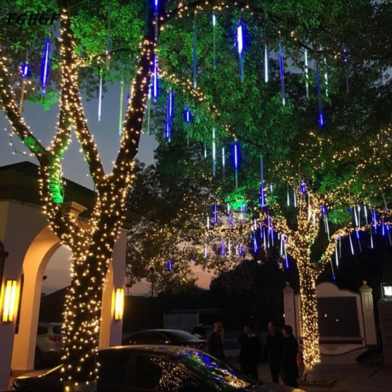 FGHGF US/ EU Plug Meteor Shower Rain Led Christmas Lights 8 Tubes Christmas Light Wedding Party Garden Xmas String Lights