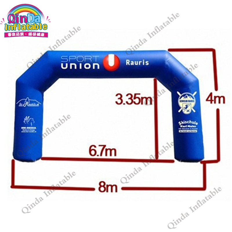 Blue Inflatable Finish Line Arch For Events  Archway PVC Logo printing Decoration For New Year 420d oxford inflatable arch inflatable archway 6 3 m with your logo