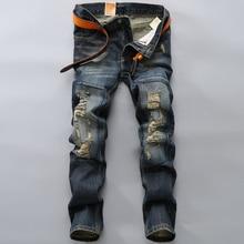 2016 марка мужские джинсы весна лето отверстие тонкий джинсы высокое качество хлопок робин джинсы свободного покроя длинные брюки