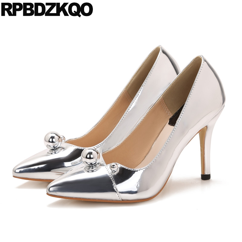 Patent Leather Party Pumps 7cm 3 Inch Unique 2017 Pointed Toe Silver Scarpin Shoes Thin Metal Heel Ladies High Heels 4 34 Small