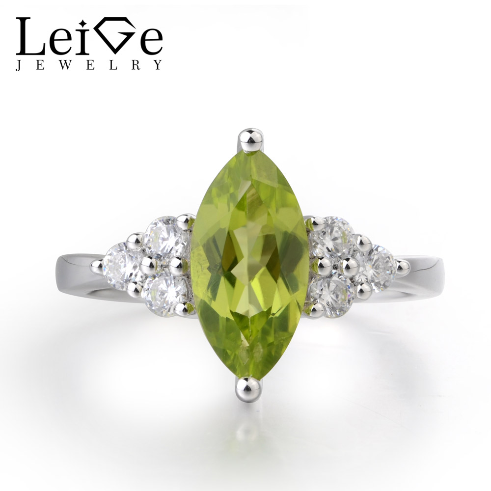 Leige Jewelry Genuine Natural Peridot Ring Romantic Gifts August Birthstone 925 Sterling Silver Ring Marquise Cut Green Gemstone