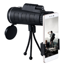 40X60 Monocular BAK4 Telescope HD Vision Prism Scope with Compass Phone Clip Tripod for Outdoor Activities Hiking