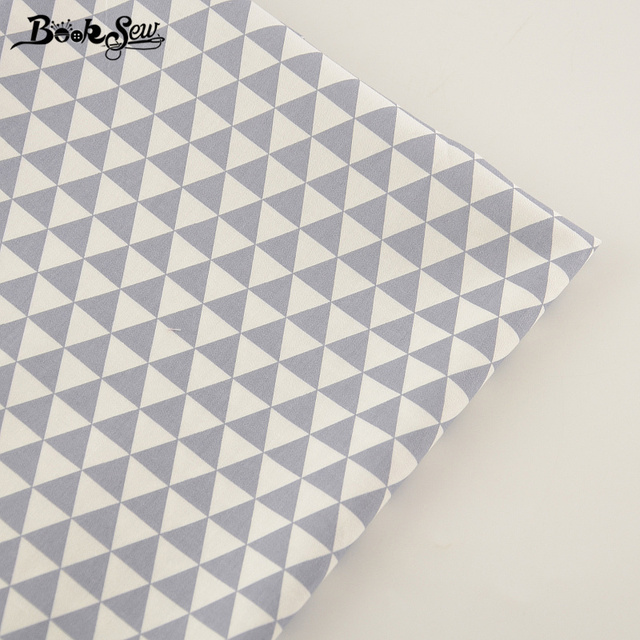 Booksew Gray Triangle Design Cotton Twill Fabric Material Soft Cloth Bed Sheet Home Textile Sewing Patchwork High Quality Tissue