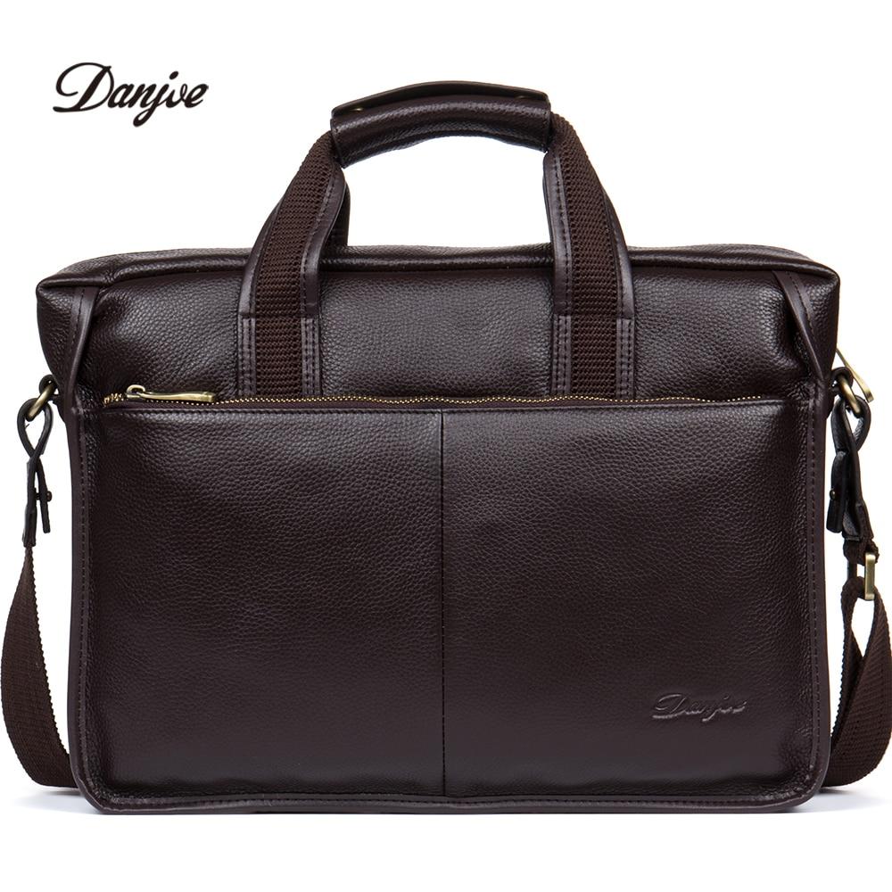 цена на DANJUE High quality genuine leather men handbags brand fashion men's business briefcase bag big capacity men laptop bag