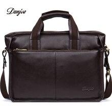 DANJUE High quality genuine leather men handbags brand fashion men's business briefcase bag big capacity men laptop bag