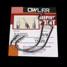 5Pcs/lots  B-11 5/0#-6# Black Offset Worm Hook Fishing Crank Sharp Fishhook Strength owner