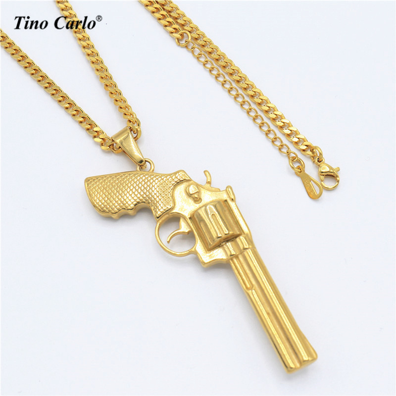 Tino Carlo New Stainless Steel Gold Color Revolver Necklace Army Necklace DJ Cool Necklace HIPHOP Street Wear Jewelry