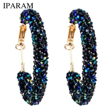 IPARAM Brand New Design Fashion Charm Austrian crystal hoop earrings Geometric Round Shiny rhinestone big earring jewelry women