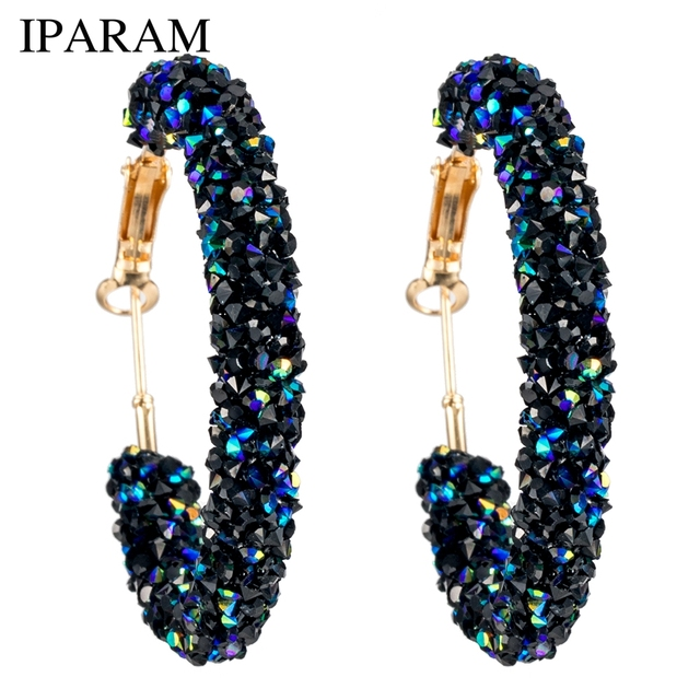 IPARAM Brand New Design Fashion Charm Austrian crystal hoop earrings  Geometric Round Shiny rhinestone big earring