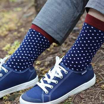 Match-Up Men\'s Combed Cotton Crew Socks Funny Dress Socks Business color dots classic (10 Pairs/lot)