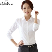 2016 Top Quality Summer Style Chiffon Blouse Women Shirts Long Sleeve Turn Down Collar White Ladies