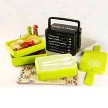 3 Schichten Japanischen Bento Lunchbox Lebensmittelbehälter Mit Griff Lunchbox Mit Einer Reihe von Löffel und Gabel Kunststoff-lebensmittel-box Mikrowelle