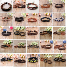 MIXMAX 50PCs Genuine leather cuff bracelets real vintage Ethnic Tribal wristband bangle different styles wholesale lots bulk
