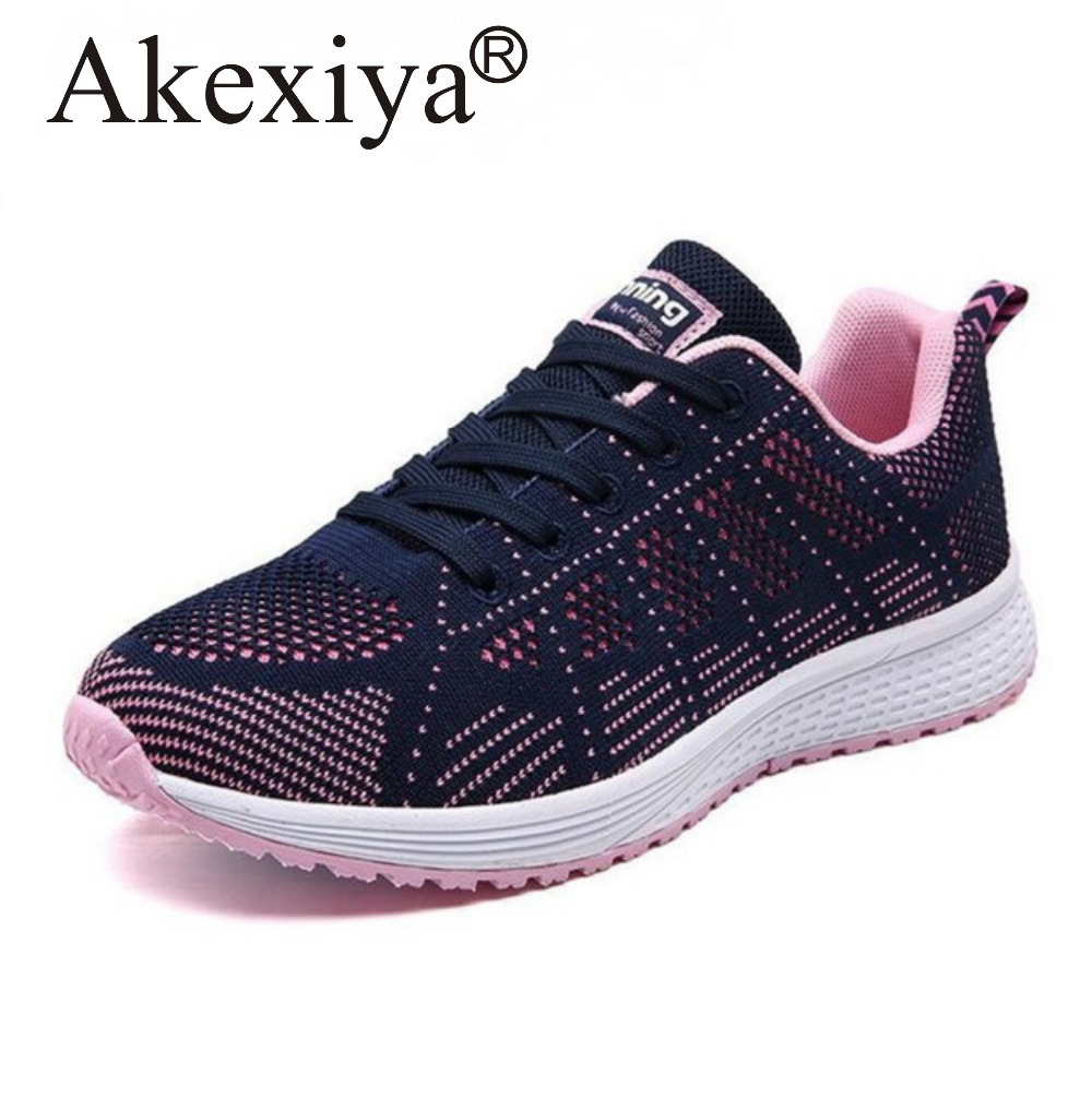 Akexiya Black Running Shoes For Women Breathable Mesh Sneakers Lightweight Men Sport Shoes Woman Outdoor Jogging Entertainment