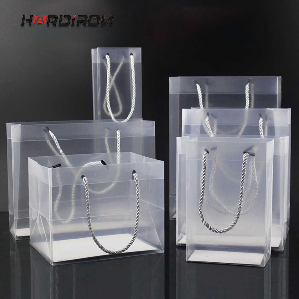 HARDIRON 10PCS Thick Standing Translucent PP Plastic Gift Waterproof Packaging Bag PVC Custom LOGO Portable Shopping Pocket