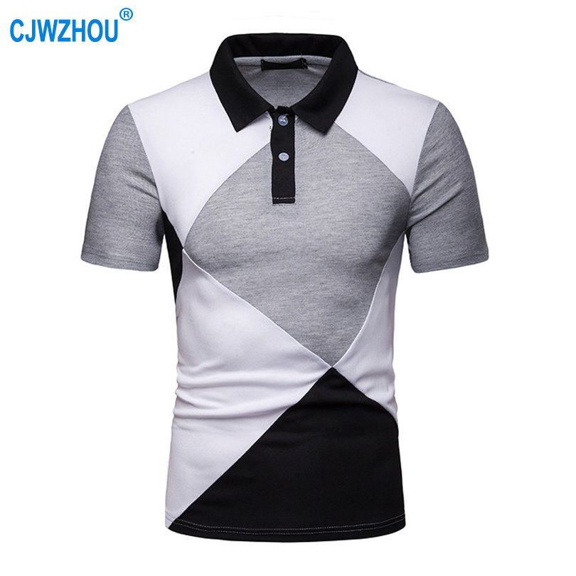 High quality Men's   POLO   Blended Cotton Breathable Splicing Lapel short-sleeved   Polo   Business Casual Streetwear Men Tops D18