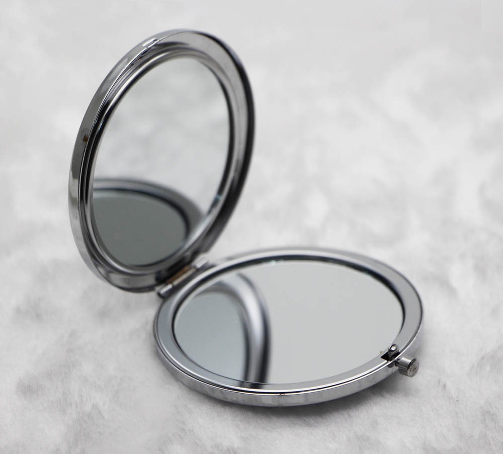Custom Personalized Compact Mirror Silver Pocket Foldable Mirrors ...