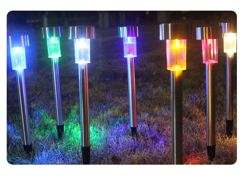 Outdoor Solar Light Colorful Changing Solar Lawn Light Garden Lamp Waterproof Stainless Steel Yard Path Lawn Lamp 18
