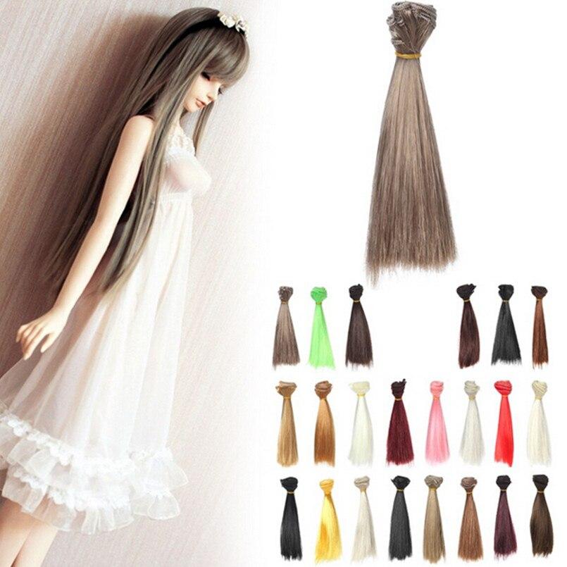 все цены на  15 Pcs/Lot Hair Refires Bjd Hair 15CM*100CM Black Gold Brown Khaki White Grey Color Short Straight Wig Hair for 1/3 1/4 BJD Diy  онлайн