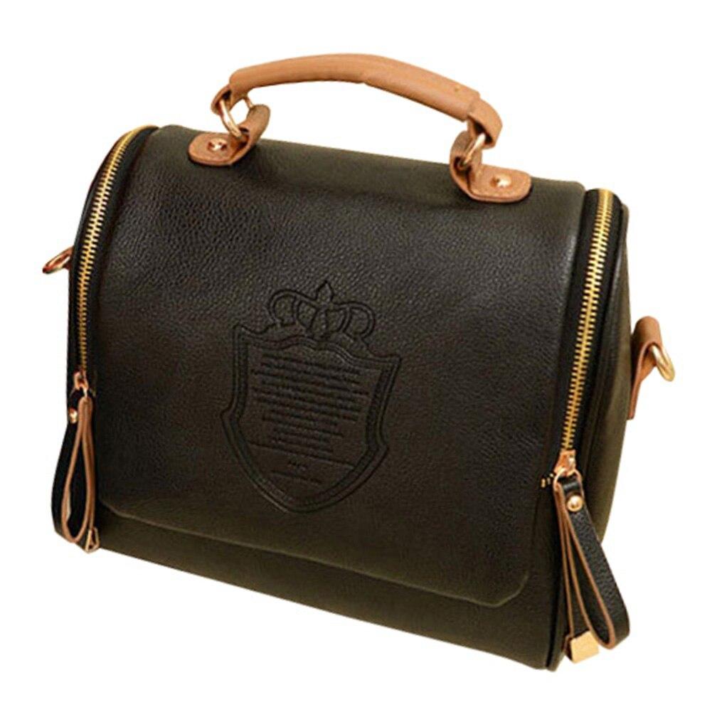 Hot Fashion Women Handbag Vintage Stamping Shield Camera Satchel Shouder Bags Black