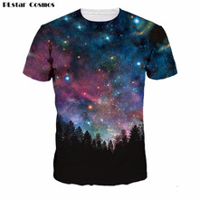 PLstar Cosmos 2017 new arrival Short Sleeve T-Shirt Forests Of The Night Sky 3D printed Unisex t shirts summer style casual sh