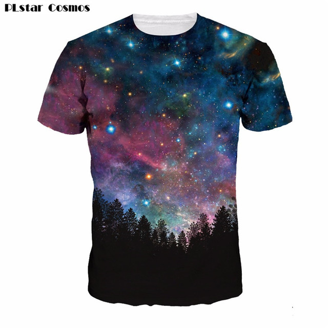 925e5b357b23ef PLstar Cosmos 2017 new arrival Short Sleeve T-Shirt Forests Of The Night Sky  3D printed Unisex t shirts summer style casual t sh