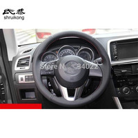 Free Shipping Hand sewing all leather steering wheel covers for Mazda CX5 CX 5