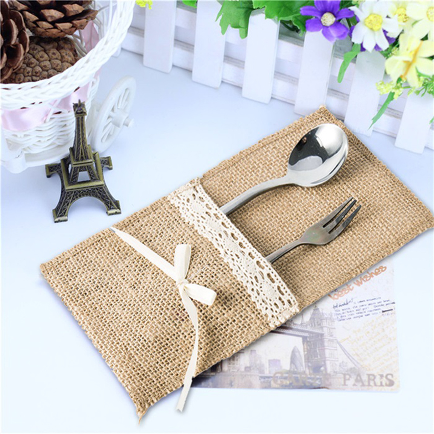 Home & Garden Humor New 10pcs/lot Cheap Wedding Tableware Sets Hessian Jute Cutlery Pocket Knife Fork Burlap Lace Pouch Bag Wedding Party Supplies Festive & Party Supplies
