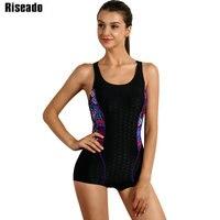 Riseado 2017 One Piece Swimwear Women Sports Swimsuit Shorts Patchwork Backless Professional Swimming Beach Bodysuits