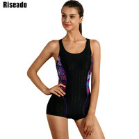 Riseado 2017 One Piece Swimwear Women Sports Swimsuit Shorts Patchwork Backless Professional Swimming Beach Bodysuits