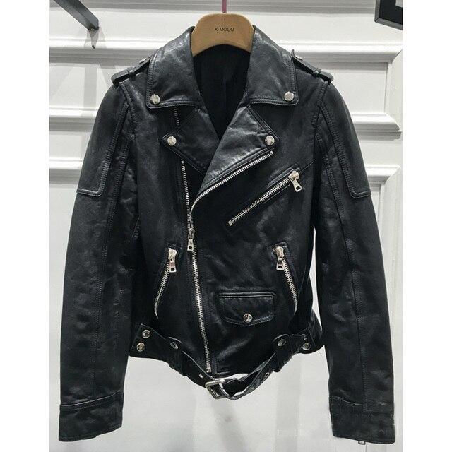 2016 Новых Женщин Классический Бренд Дубления Кожаные Куртки Из Натуральной Кожи Овчины Пальто Прохладный Молнии 6053